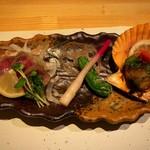 浅葱  - 和牛モモのタタキと長太郎貝の網焼き