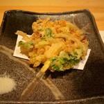 浅葱  - 金時芋と小柱、青さのりのかき揚げ