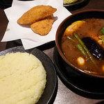 ラマイ - 料理写真:スープカレー・フィッシュフライ1100円(1日10食限定) スープ大盛り、ライスL、辛さ10番