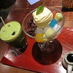 鎌倉かなえ - 抹茶あんみつ、冷抹茶