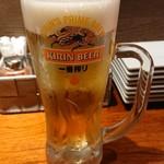 やきとり家すみれ - 生ビール。