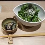 アフーネ - 春菊と茶蕎麦のサラダ