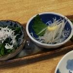 宝寿司 - お通し3種