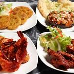 インド料理ムンバイ四谷店+The India Tea House - ノンべジスナック(ガーリックシュリンプ、マサラ手羽先、レンコンキーマ、キーマナス)