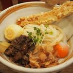 活麺富蔵 - 煮肉温泉玉子ぶっかけ & 竹玉天トッピング