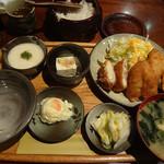 里乃や - チーズ肉巻きフライとキスフライ(950円)
