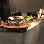 炭焼 芹生 - 伝助穴子と野菜の調理風景('18.9月上旬)