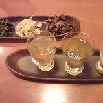 9794959 - 3種類の梅酒&柚子酒 ナムルの盛り合わせ