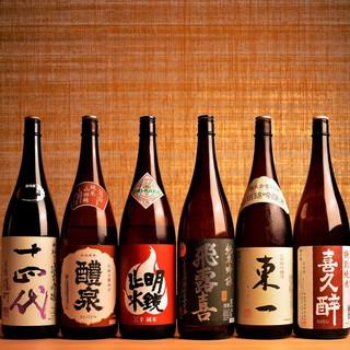 厳選した銘酒を常時20種類ほどご用意しております。