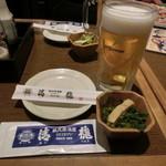 蔵元居酒屋 清龍 - お通し、ビール