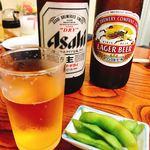 天平食堂 - ビールとお通しの枝豆   ビール大瓶は550円