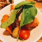 玄米カフェ 実身美  - 鮭のフライ野菜添え