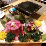 ミツフジダイニング - 溶岩焼き 越後牛サーロイン(2880円)・極上牛タン(1250円)