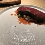 TTOAHISU - 和牛ステーキ(要追加料金)、九条ネギのリゾット添え・・キレイなお肉、100g以上ありそう。