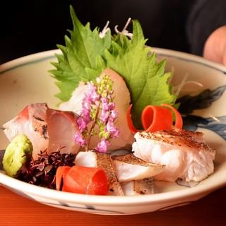 厳選した旬の魚介と旬の野菜をお楽しみください。