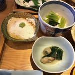 98034029 - 朧豆腐  厚揚げと小松菜の煮物  牡蠣のお浸し