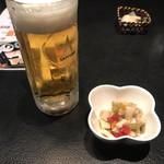 鮨処 魚一心 - 生ビールとお通し
