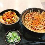 ゆで太郎 - 料理写真:タコと紅生姜のかき揚げ丼セット 650円