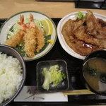 和彩ダイニング 膳 - [ランチ]生姜焼&海老フライ定食