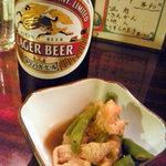 狸の焼鳥 - ビール&お通し
