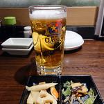 どさんこキッチン ゴリラ - 生ビール(480円)+お通し(380円)