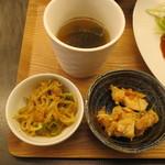 ぶどう枝焚焼き串焼き&ワイン BRANCH - スープ・小鉢2品
