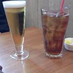 98092534 - 生ビール(500円)+アイスティー(180円)