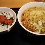 いろり庵きらく - 料理写真:朝食セット(かけそば&明太子ご飯)