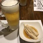 イチズシ - 生ビール、湯葉おひたし