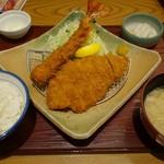 かつ敏 - (2018/10月)「海老1尾とロースカツ定食」