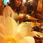 あだん亭 - 年に5.6回しか咲かない島の花。 月下美人という花だそう。 大将が見せてくれました。
