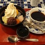 ふなわかふぇ - あんみつ+芋ソフトとコーヒー