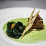 ASAHINA Gastronome - フランス産リ・ド・ヴォーのヴィエノワーズ サルシフィーのブルーテ トリュフの香る卵黄のアンフィゼ