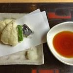 98183501 - アジ、アナゴ、ししとう、茄子の天ぷら
