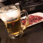 炭火焼肉 太陽 - ビールとハラミ
