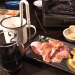 炭火焼肉 太陽 - 赤ワインと鳥肉