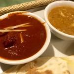 シャングリーラ - ランチは選べるカレーと日替わりカレーの2種盛り(マトンカレーとキーマとタケノコのカレー)