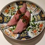 クラフトビア食堂 volta - 和牛ローストビーフ寿司 1貫200円