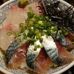 まるさ水産 - 壱岐サバとカンパチの丼
