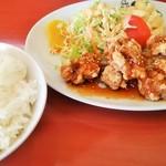 緑亭 - チキンピリ辛定食