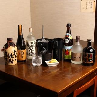 お得な焼酎ボトルキープ1000円~!その他にも銘酒を品揃え♪