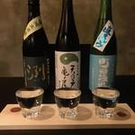 酒まる / SAKEmaru - 大人気の三種飲み比べ(合計1合) 900円があります。