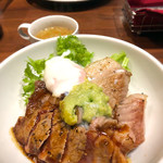 銀座ライオン - リブロースとイベリコ豚トロのステーキ丼