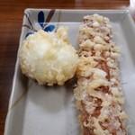 竹清 - 半熟卵天、ちくわ天 それぞれ100円