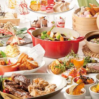 和、洋、中華、デザートなど約60種類以上から楽しめる♪