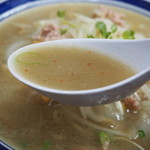 味の三平 - みそラーメン(スープ)