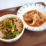 すき家 - ニンニクの芽牛丼ミニと、 牛皿ミニ