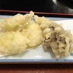 はや味 - 下仁田葱と舞茸の天ぷら  300円