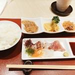 鮨・割烹 花絵巻 - 小鉢3種盛りとお刺身^ ^