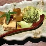 地産地鶏専門店 茂松 - 黒蜜きな粉抹茶アイス わらび餅添え